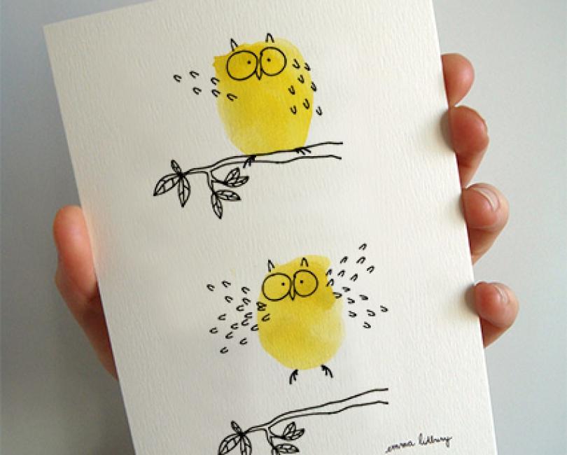 carte enfant hibou jaune lidbury