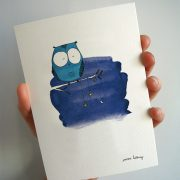 Carte hibou bleu nuit illustration lidbury