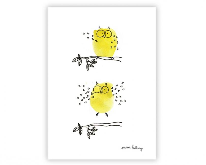 lacarteriedemma-lidbury-carte-Illustration-hibou-vole-jaune