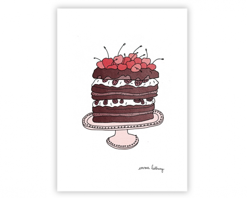 lacarteriedemma-lidbury-carte-Illustration-cerise-gateau-choco