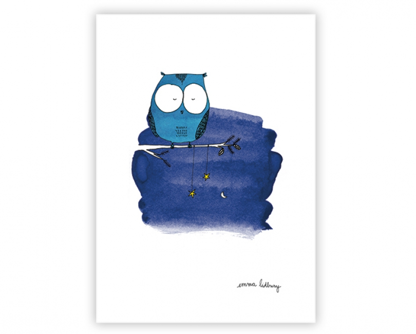 lacarteriedemma-lidbury-carte-Illustration-hibou-bleu-nuit