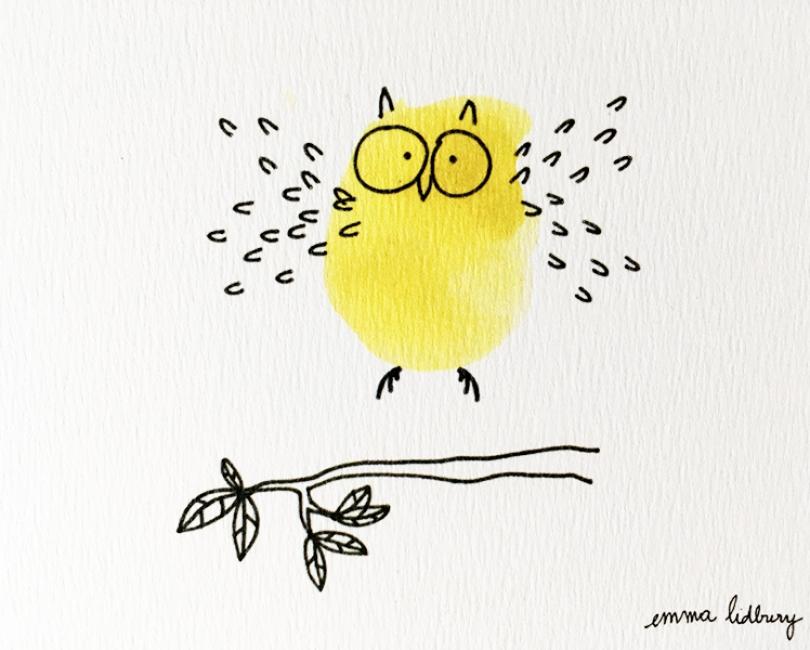lacarteriedemma-lidbury-carte-Illustration-hibou-vole-jaune-detail