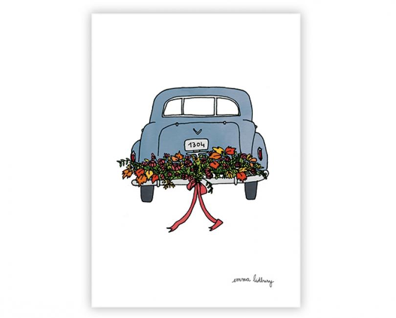 lacarteriedemma-lidbury-carte-Illustration-voiture-mariage