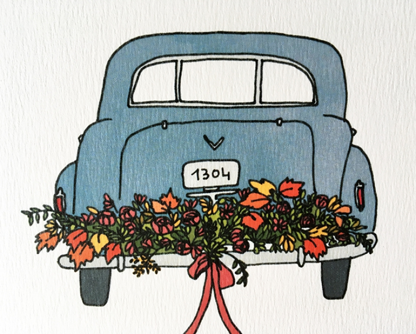 lacarteriedemma-lidbury-carte-Illustration-voiture-mariage-detail