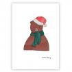 carte d'un ours avec un bonnet de pere-noël par le shop de la carterie d'emma