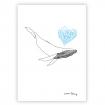 Carte illustrée d'une baleine amoureuse
