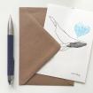 Carte postale illustrée d'une baleine amoureuse