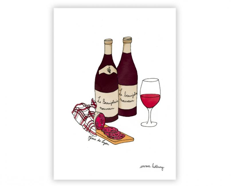 lacarteriedemma-lidbury-carte-Illustration-beaujolais-nouveau-jesus-lyon-specialite