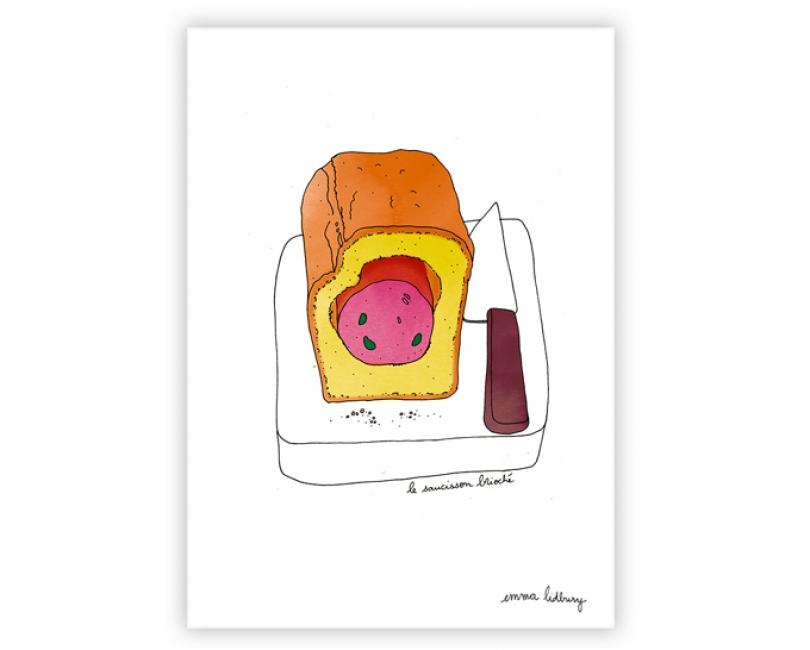 lacarteriedemma-lidbury-carte-Illustration-saucisson-brioche-lyon-specialite