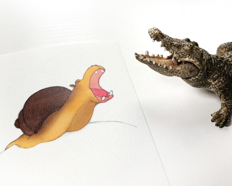 lacarteriedemma-lidbury-Illustration-hippopotame-escargot-kids-enfant-croco